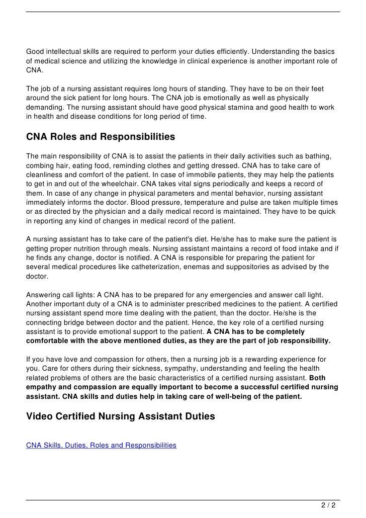 CNA Skills, Duties, Roles and Responsibilities