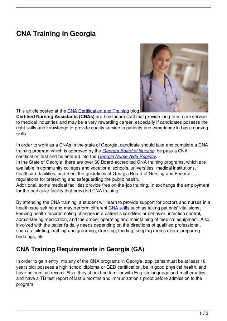 Cna Training In Georgia