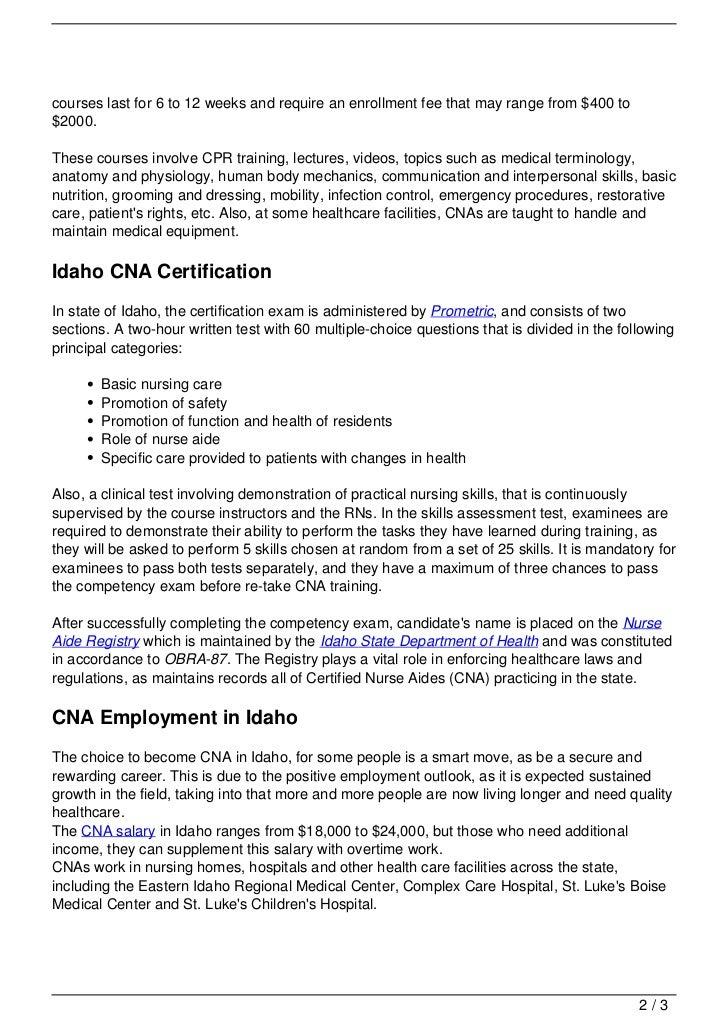 Cna Training In Idaho
