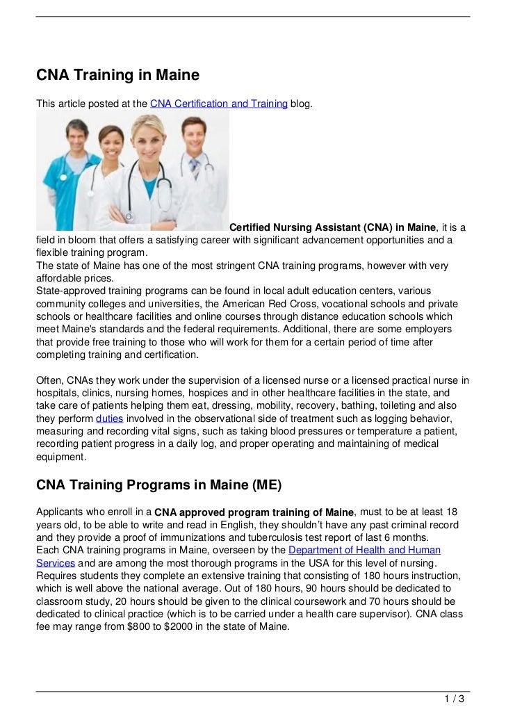 Cna Training In Maine