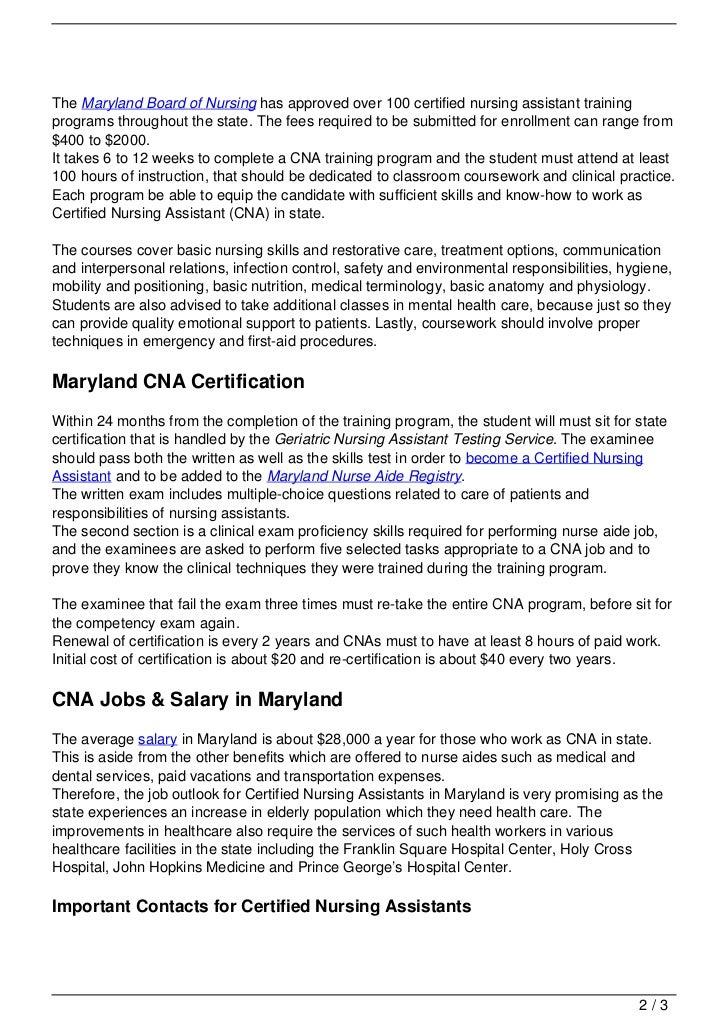 Cna Training In Maryland