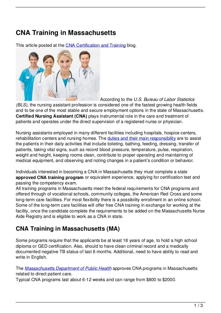 Cna Training In Massachusetts