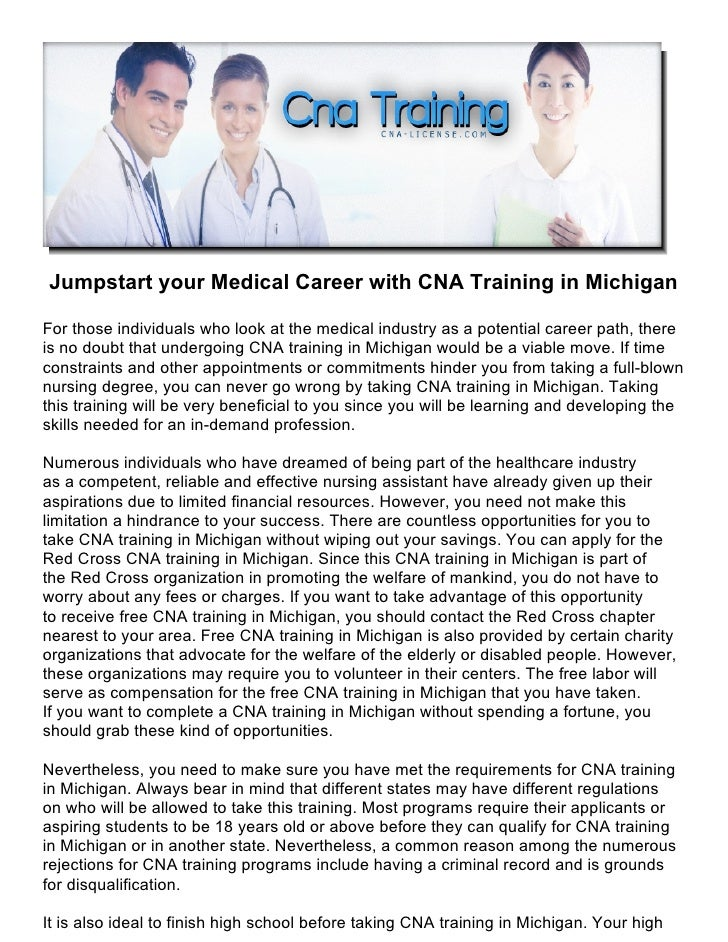 Jumpstart Your Medical Career With Cna Training In Michigan
