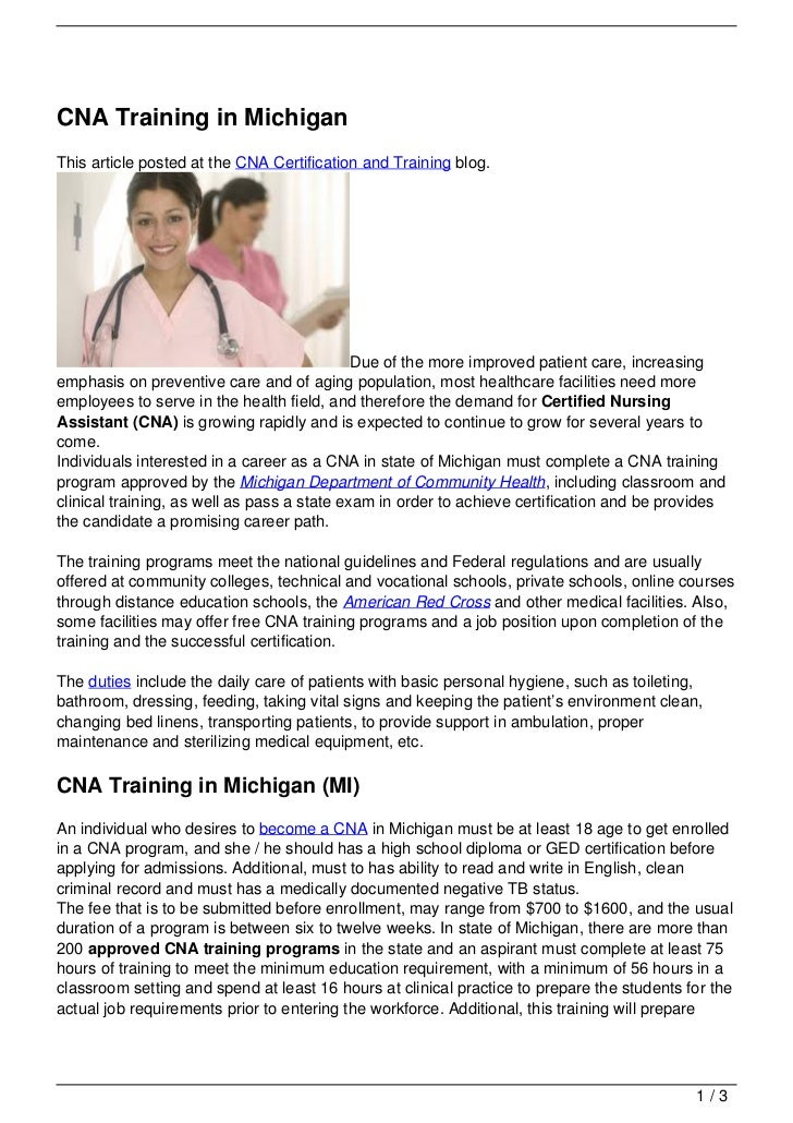Cna Training In Michigan