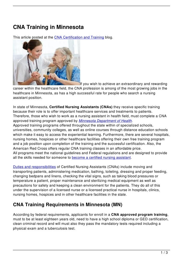 Cna Training In Minnesota