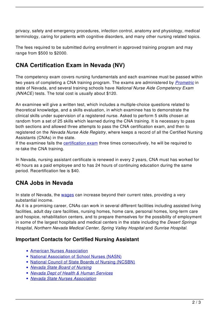 Cna Training In Nevada