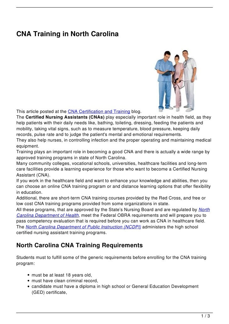 CNA Training in North Carolina