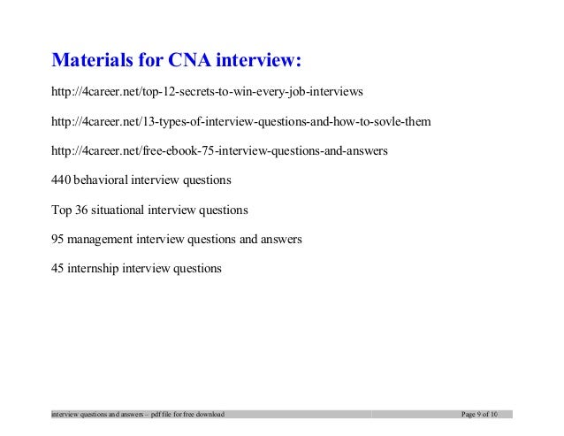 Charming ... Interview Questions And Answers U2013 Pdf File For Free Download Page 8 Of  10; 9. Materials For CNA ...