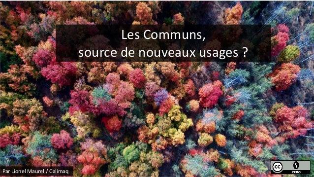 Les Communs, source de nouveaux usages ? Par Lionel Maurel / Calimaq