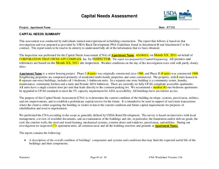 Capital needs assessment example maxwellsz
