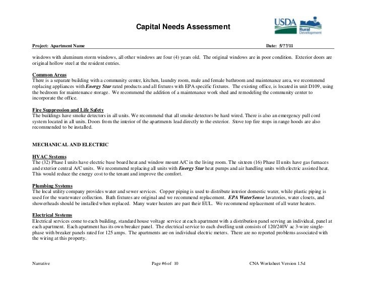 Capital Needs Assessment Example – Sample Needs Assessment