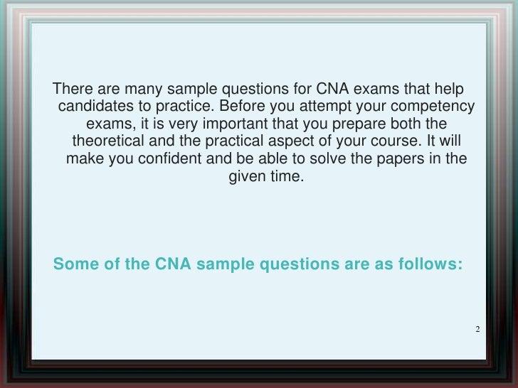 sample questions for cna exam 1 2 - Cna Sample Questions