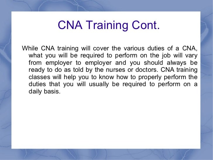 Cna Training And The Job Responsibilities Of A Cna