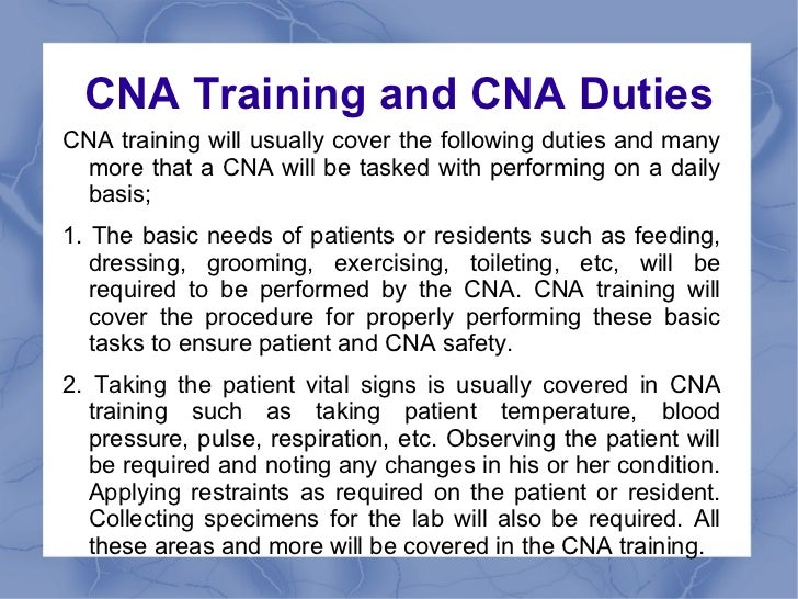 the normal job duties and responsibilities of a cna. sample cna ...