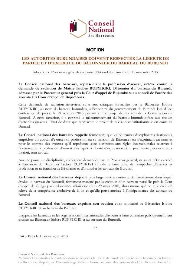 MOTION LES AUTORITES BURUNDAISES DOIVENT RESPECTER LA LIBERTE DE PAROLE ET D'EXERCICE DU BÂTONNIER DU BARREAU DU BURUNDI A...