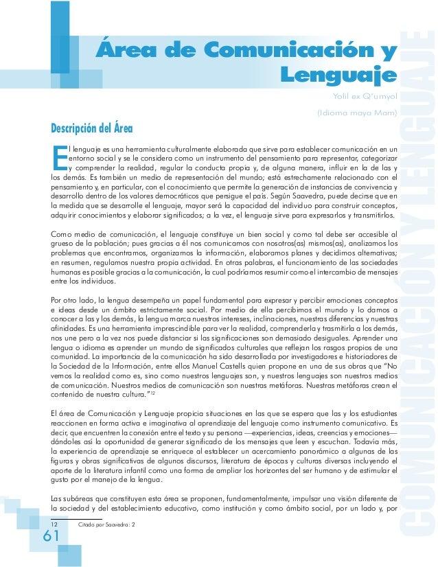 COMUNICACIÓNYLENGUAJE 61 Área de Comunicación y Lenguaje Yolil ex Q'umyol (Idioma maya Mam) Descripción del Área E l lengu...