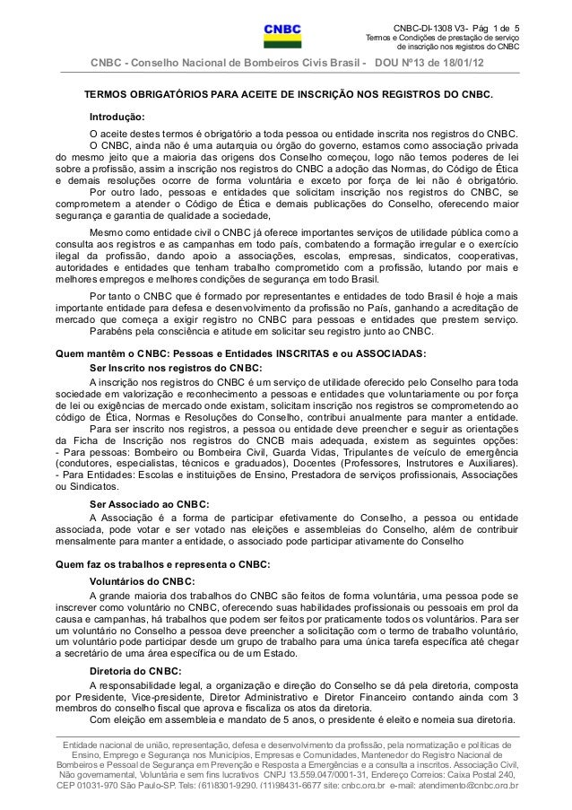 CNBC-DI-1308 V3- Pág 1 de 5 Termos e Condições de prestação de serviço de inscrição nos registros do CNBC CNBC - Conselho ...