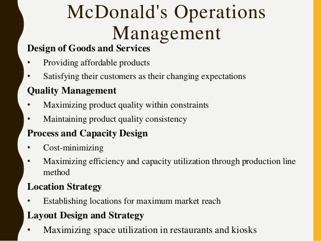 process and capacity design of mcdonalds