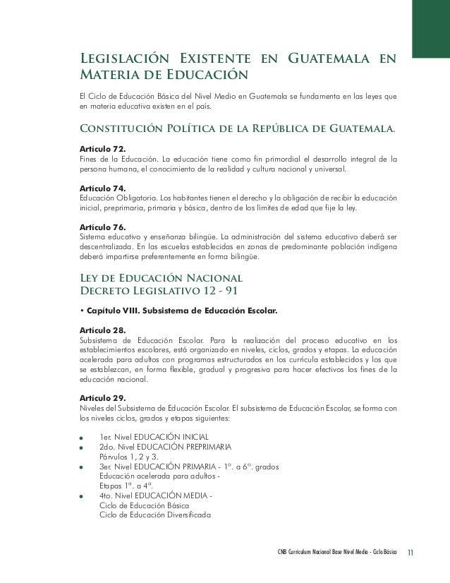 11 CNB Curriculum Nacional Base Nivel Medio - Ciclo Básico  Legislación Existente en Guatemala en Materia de Educación  El...