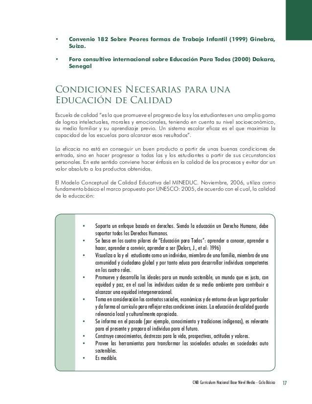 17 CNB Curriculum Nacional Base Nivel Medio - Ciclo Básico  • Convenio 182 Sobre Peores formas de Trabajo Infantil (1999) ...