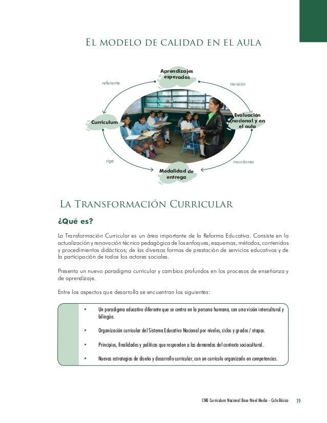 19 CNB Curriculum Nacional Base Nivel Medio - Ciclo Básico  El modelo de calidad en el aula  La Transformación Curricular ...