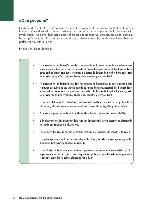 20 CNB Curriculum Nacional Base Nivel Medio - Ciclo Básico  ¿Qué propone?  Fundamentalmente, la Transformación Curricular ...