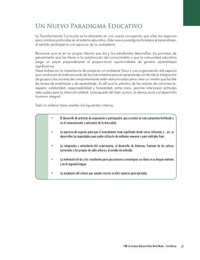 21 CNB Curriculum Nacional Base Nivel Medio - Ciclo Básico  La Transformación Curricular se fundamenta en una nueva concep...