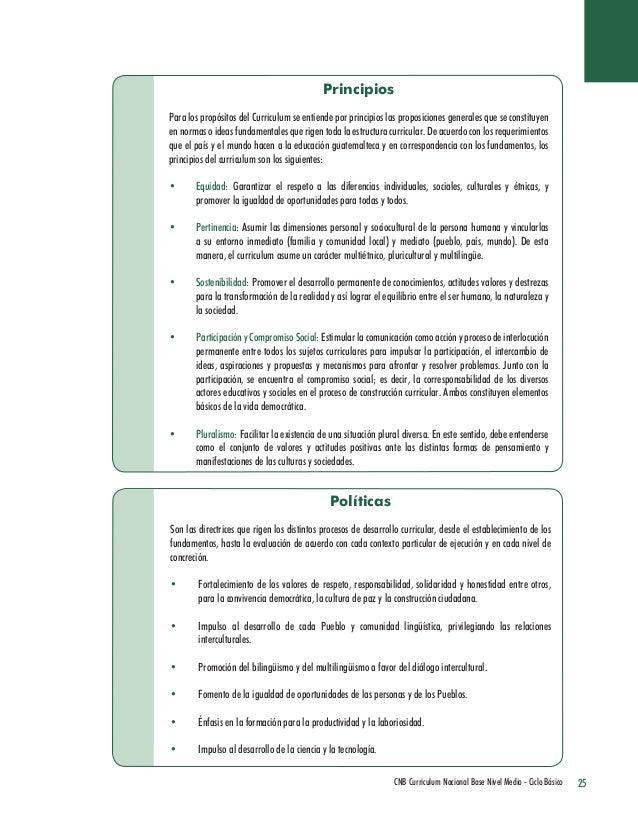 25 CNB Curriculum Nacional Base Nivel Medio - Ciclo Básico  Principios  Para los propósitos del Curriculum se entiende por...