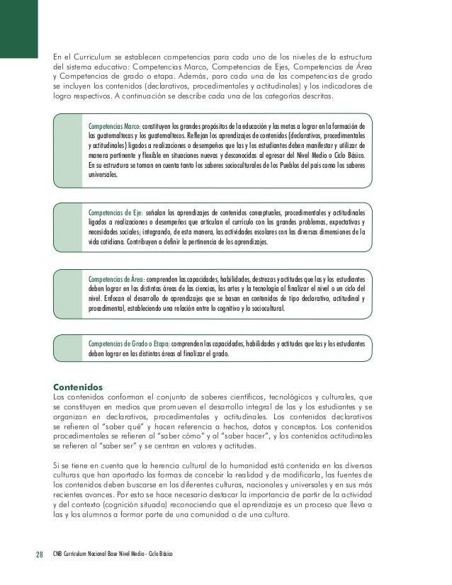 28 CNB Curriculum Nacional Base Nivel Medio - Ciclo Básico  En el Curriculum se establecen competencias para cada uno de l...