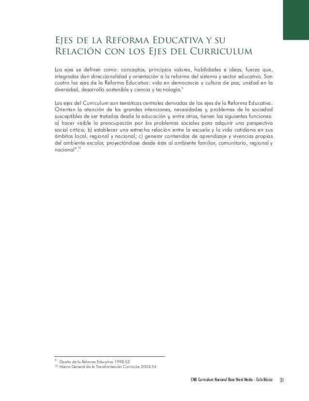 31 CNB Curriculum Nacional Base Nivel Medio - Ciclo Básico  Los ejes se definen como: conceptos, principios valores, habil...