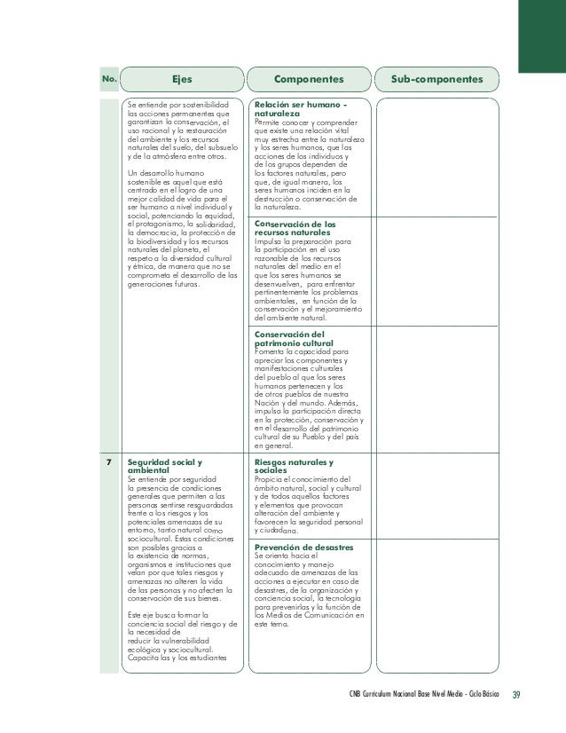 39 CNB Curriculum Nacional Base Nivel Medio - Ciclo Básico  Ejes  Componentes  Sub-componentes  Se entiende por sostenibil...