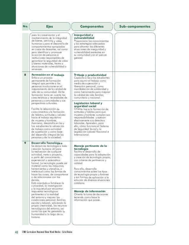 40 CNB Curriculum Nacional Base Nivel Medio - Ciclo Básico  Ejes  Componentes  Sub-componentes  para la conservación y el ...