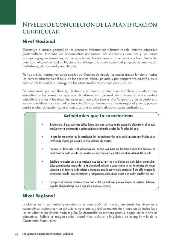 42 CNB Curriculum Nacional Base Nivel Medio - Ciclo Básico  Niveles de concreción de la planificación curricular  Nivel Na...