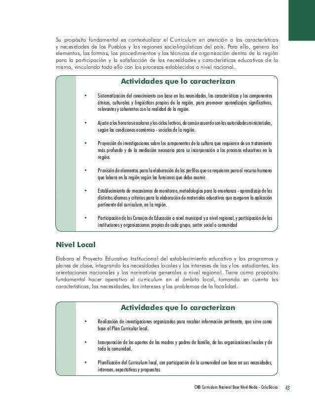 43 CNB Curriculum Nacional Base Nivel Medio - Ciclo Básico  Actividades que lo caracterizan  • Sistematización del conocim...
