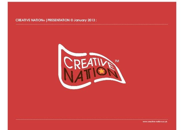 CREATIVE NATION® |PRESENTATION © January 2013 :                                                  www.creative-nation.co.uk