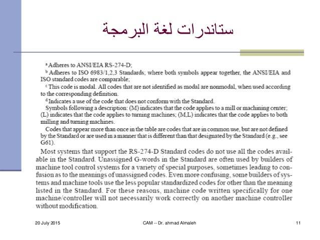 20 July 2015 CAM -- Dr. ahmad Almaleh 11 البرمجة لغة ستاندرات