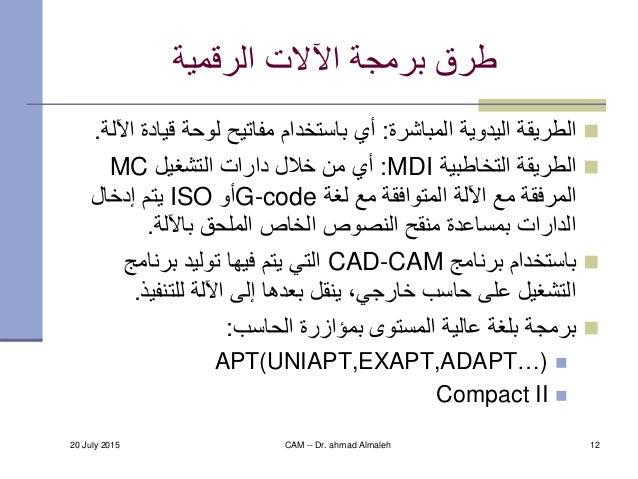 20 July 2015 CAM -- Dr. ahmad Almaleh 12 الرقمية اآلالت برمجة طرق المباشرة اليدوية الطريقة:قي لوحة مفا...