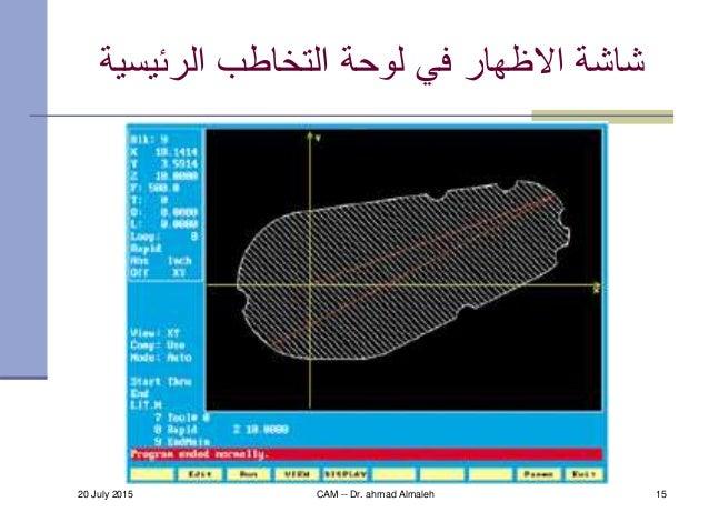 20 July 2015 CAM -- Dr. ahmad Almaleh 15 الرئيسي التخاطب لوحة في االظهار شاشةة