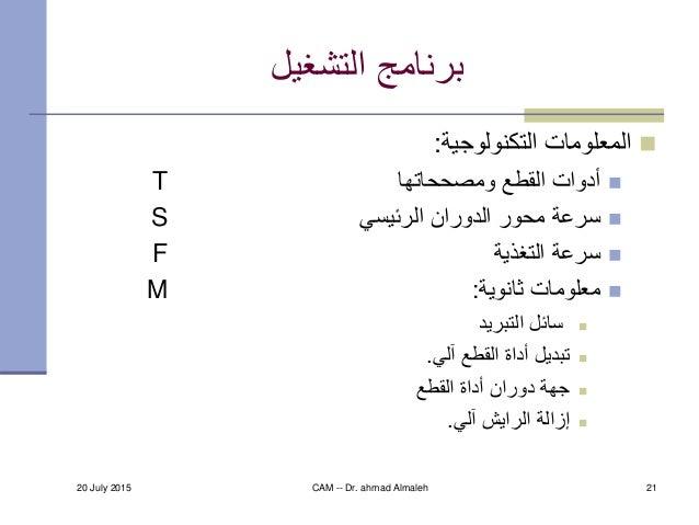 20 July 2015 CAM -- Dr. ahmad Almaleh 21 التشغيل برنامج التكنولوجية المعلومات: ومصححاتها القطع أدواتT ال...