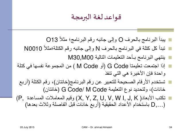 20 July 2015 CAM -- Dr. ahmad Almaleh 34 البرمجة لغة قواعد بالحرف البرنامج يبدأOًالمث البرنامج؛ رقم ...
