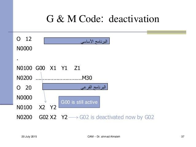 20 July 2015 CAM -- Dr. ahmad Almaleh 37 G & M Code: deactivation O 12 N0000 . N0100 G00 X1 Y1 Z1 N0200 ………………………….M30 O 2...