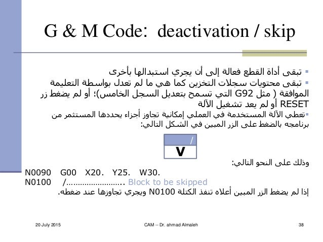 20 July 2015 CAM -- Dr. ahmad Almaleh 38 G & M Code: deactivation / skip بأخرى استبدالها يجري أن إلى فعالة ا...