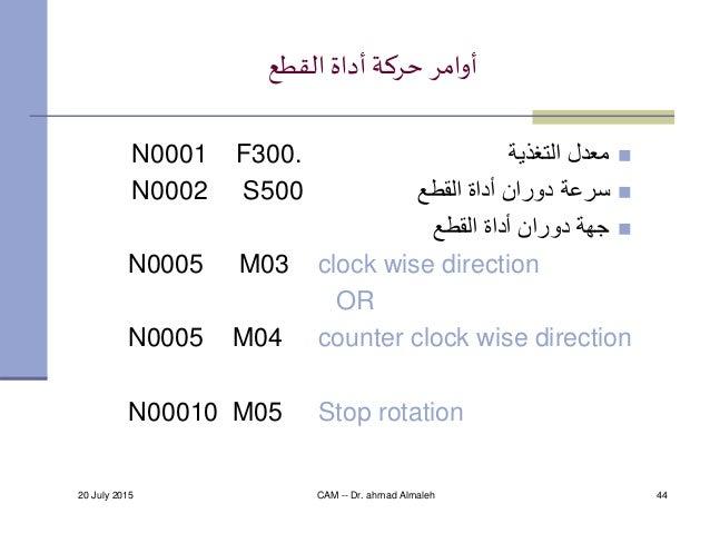 20 July 2015 CAM -- Dr. ahmad Almaleh 44 القطعأداة حركة أوامر التغذية معدلN0001 F300. القطع أداة دوران...