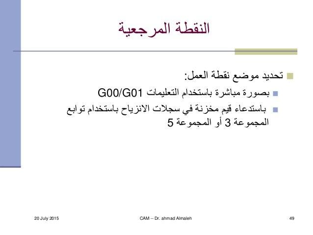 20 July 2015 CAM -- Dr. ahmad Almaleh 49 المرجعية النقطة العمل نقطة موضع تحديد: التعليمات باستخدام مباش...