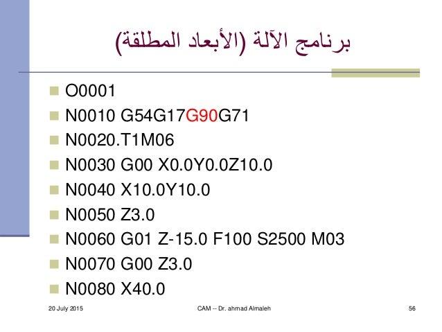 اآللة برنامج(المطلقة األبعاد)  O0001  N0010 G54G17G90G71  N0020.T1M06  N0030 G00 X0.0Y0.0Z10.0  N0040 X10.0Y1...