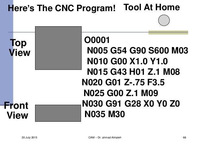 Top View Front View Tool At Home O0001 N005 G54 G90 S600 M03 N010 G00 X1.0 Y1.0 N015 G43 H01 Z.1 M08 N020 G01 Z-.75 F3.5 N...