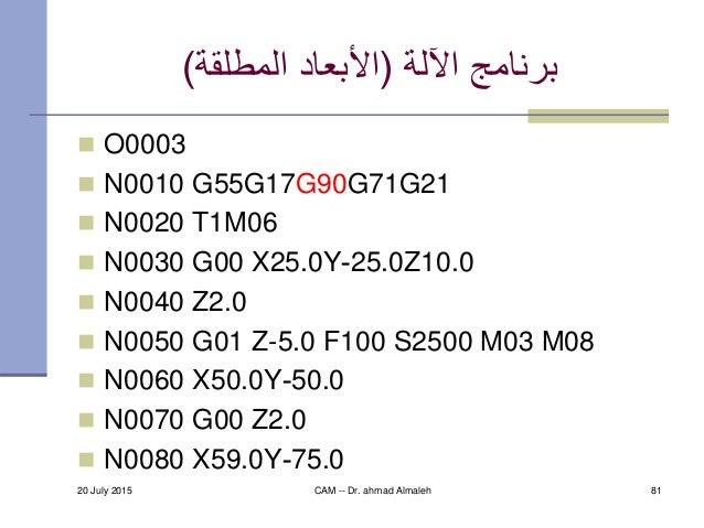 اآللة برنامج(المطلقة األبعاد)  O0003  N0010 G55G17G90G71G21  N0020 T1M06  N0030 G00 X25.0Y-25.0Z10.0  N0040 Z...