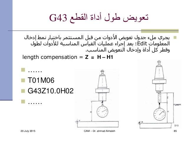 القطع أداة طول تعويضG43  ……  T01M06  G43Z10.0H02  …… إدخ نمط باختيار المستثمر قبل من األدوات ت...