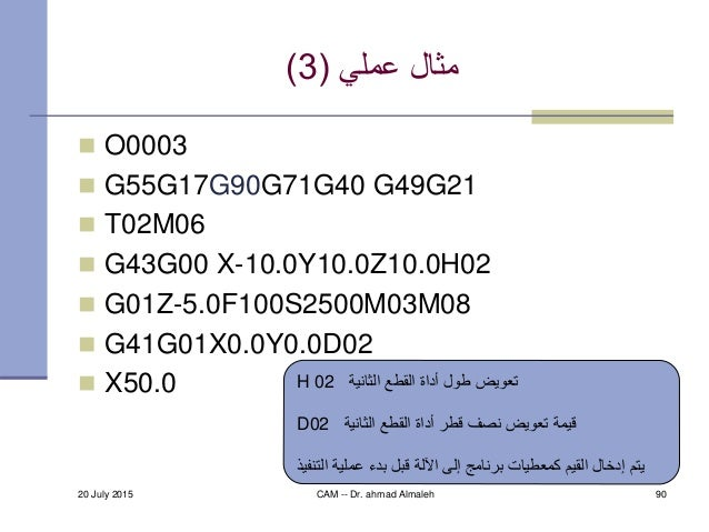 مثالعملي(3)  O0003  G55G17G90G71G40 G49G21  T02M06  G43G00 X-10.0Y10.0Z10.0H02  G01Z-5.0F100S2500M03M08  G41G01X...