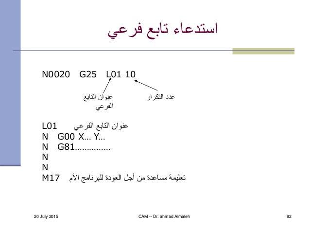20 July 2015 CAM -- Dr. ahmad Almaleh 92 فرعي تابع استدعاء N0020 G25 L01 10 L01 الفرعي التابع عنوان N G00 X… Y...
